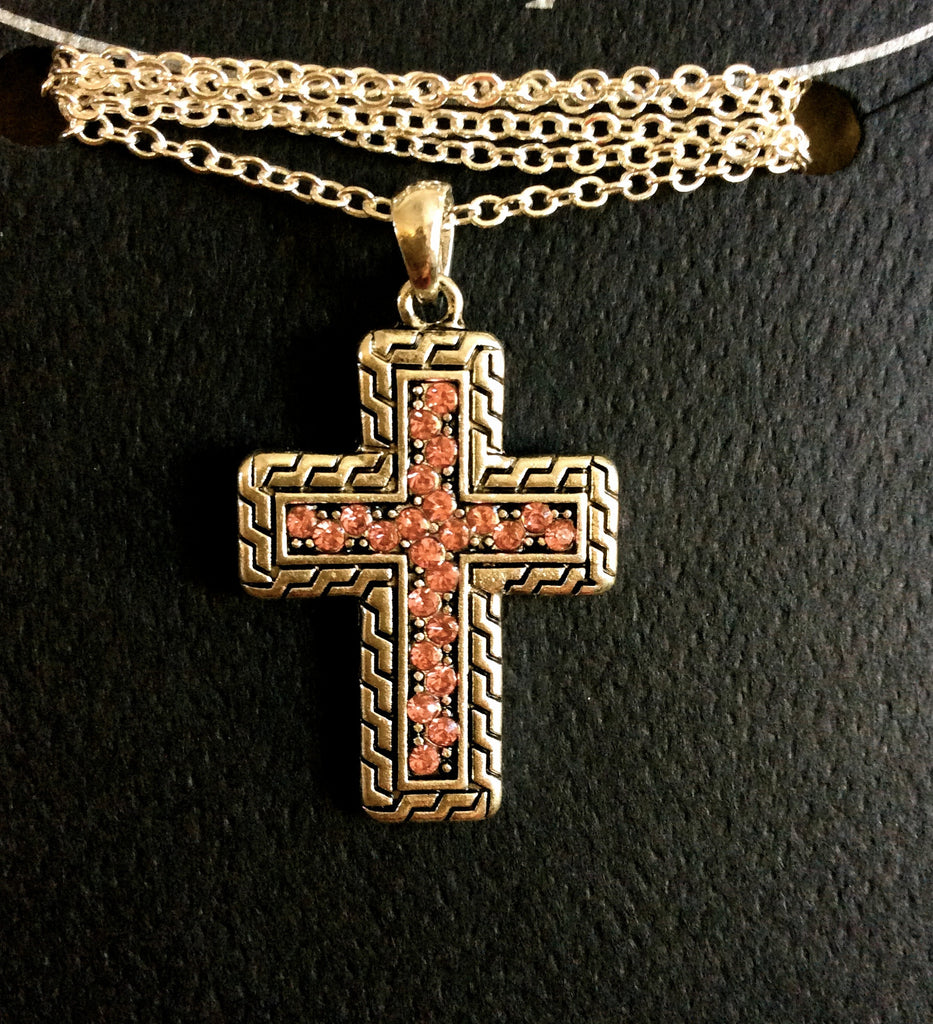Pink Cross Necklace