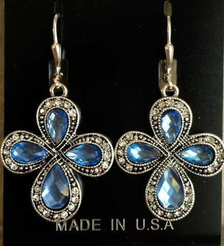 Blue & Silver Cross Earrings