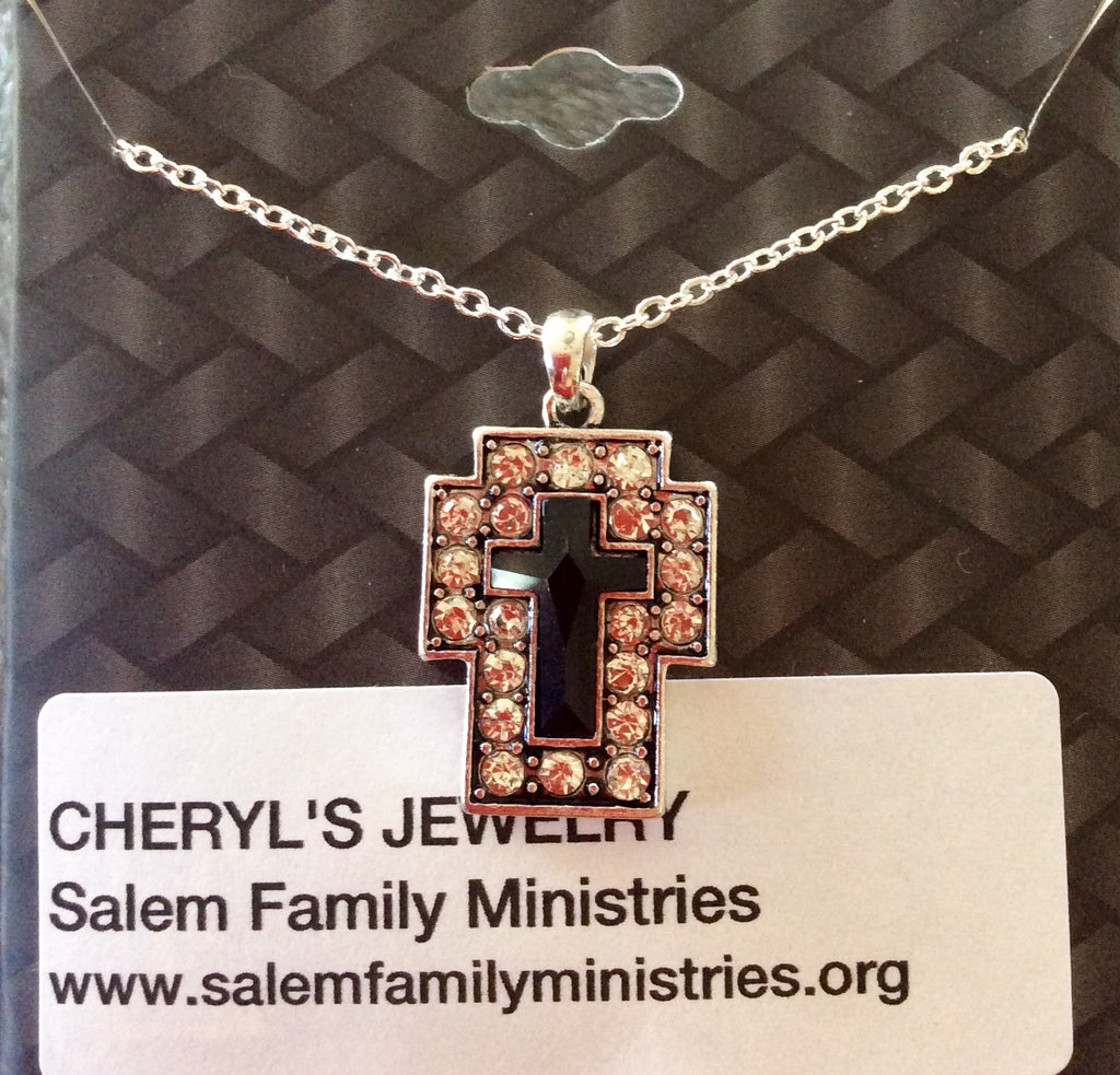 Silver & Black Cross Necklace