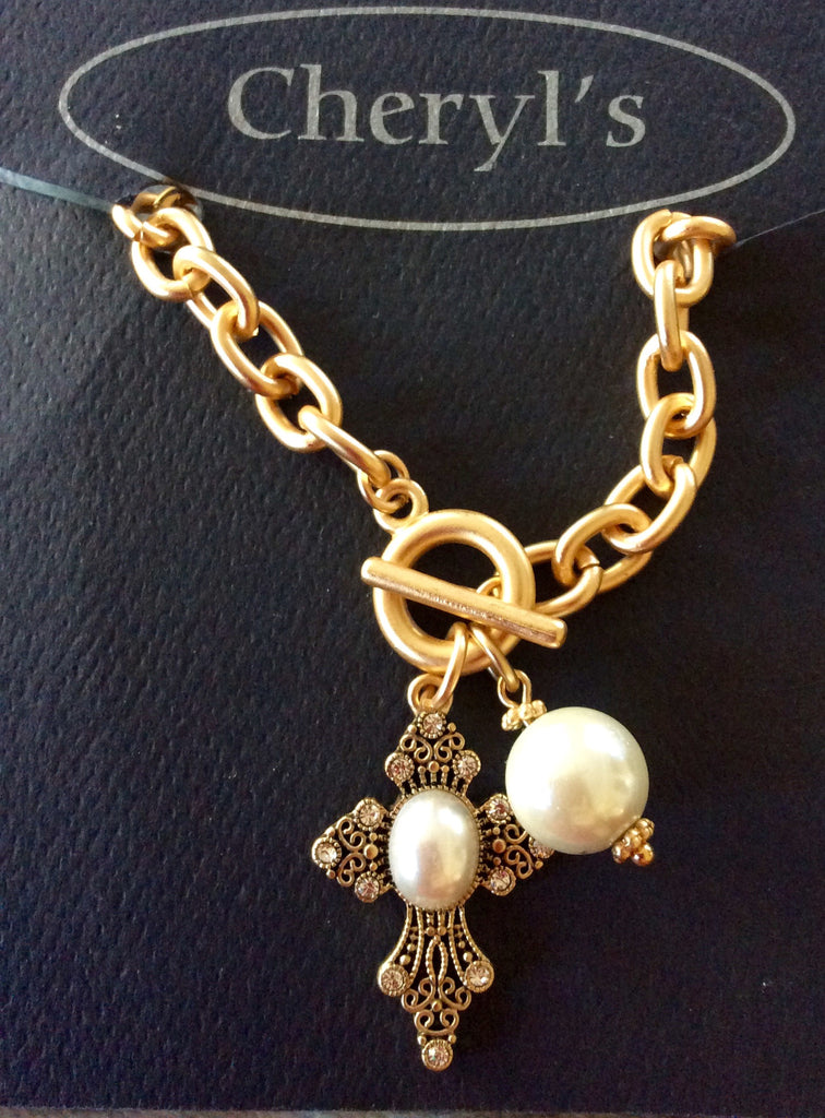 Pearl Toggle Cross Bracelet