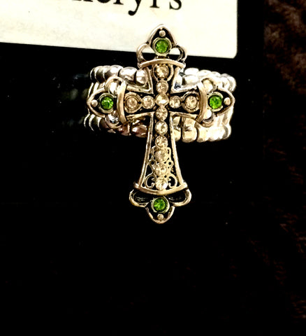 Silver Stretch Cross Ring