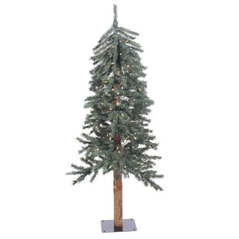 Vickerman 4' Natural Bark Alpine Artificial Christmas Tree with 100 clear lights