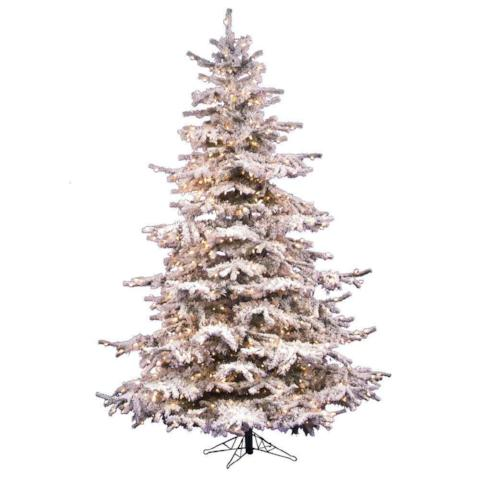 Vickerman 7.5' Flocked Sierra Artificial Christmas Tree with 750 Clear Lights