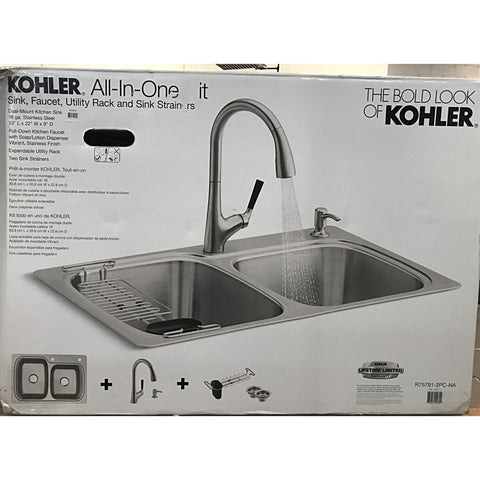 Kohler Stainless Steel Sink and Faucet All-In-One Kit
