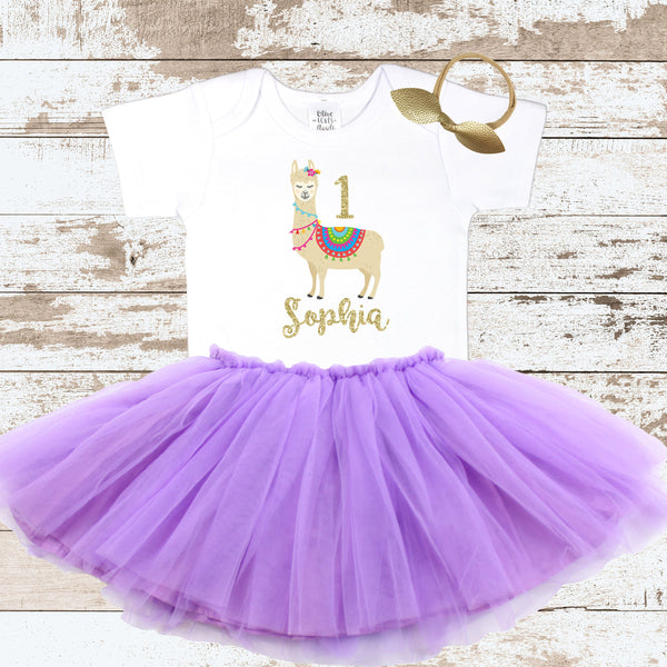 First Birthday Llama Purple Tutu