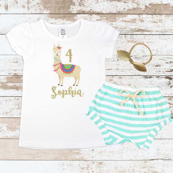 Custom 4th Birthday Llama Mint Shorts Outfit