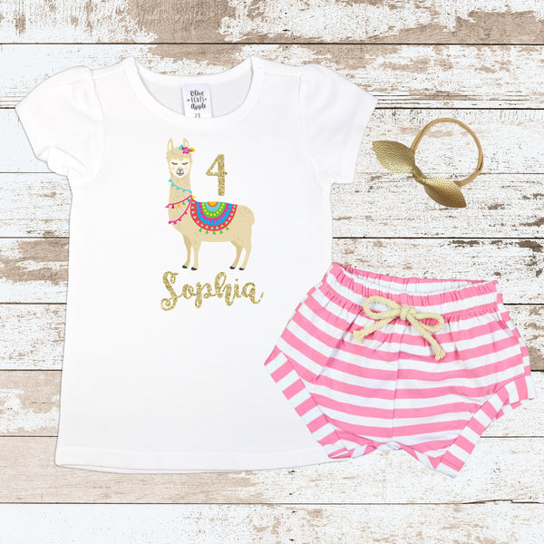 Custom 4th Birthday Llama Pink Shorts Outfit