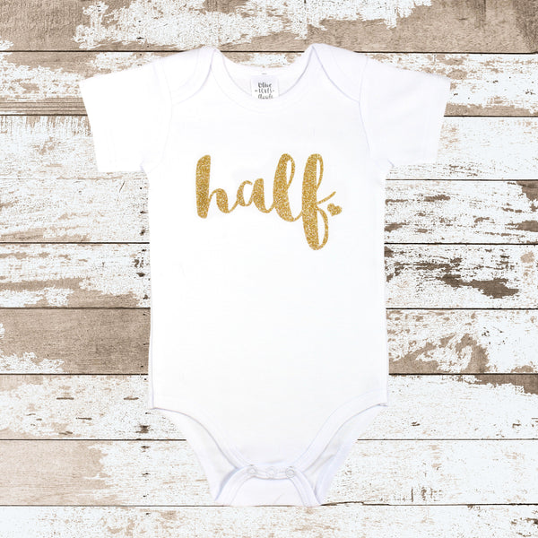 Gold 'Half' White Bodysuit