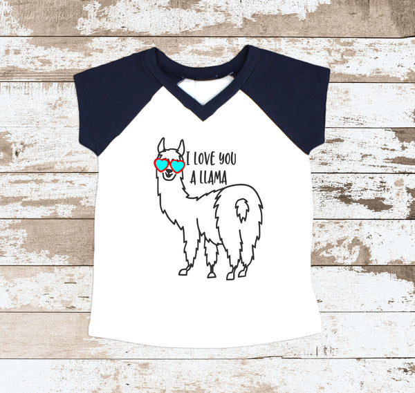 I Love You A Llama Navy Raglan