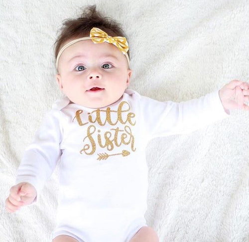 Gold Little Sister White Bodysuit