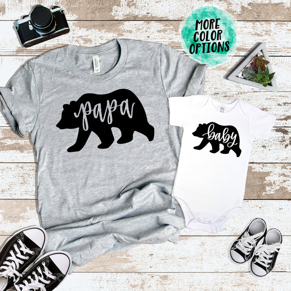 DAD Papa Bear & Baby Bear Matching Tops