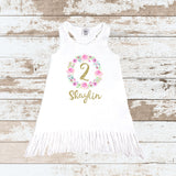 Custom Pink Wreath 2nd Birthday Tops