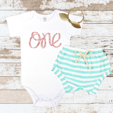 Rose Gold One in Heart Mint Shorts Outfit