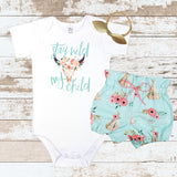 Stay Wild My Child Pink Flowers Teepee Bloomer Outfit