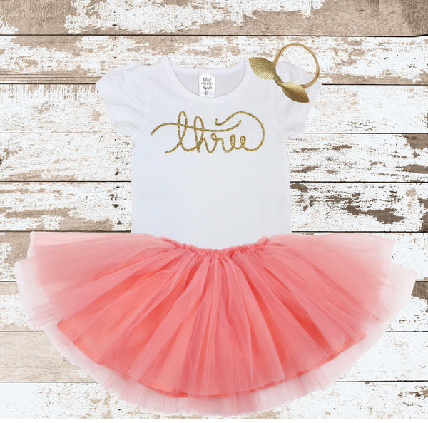 Gold Three Peach Tutu Outfit