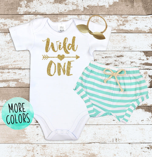 Gold Wild One Mint Shorts Outfit