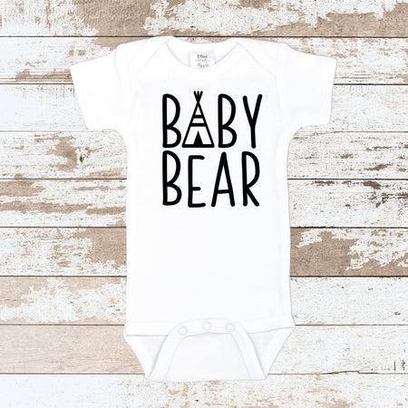 Baby Bear Orange Paw White Bodysuit