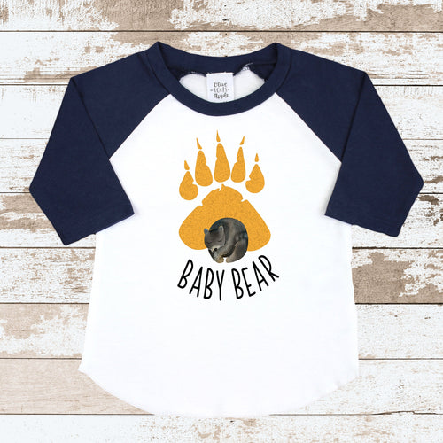 Baby Bear Orange Paw Navy Raglan Shirt