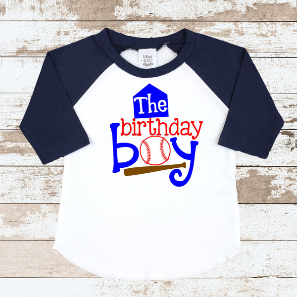 The Birthday Boy Baseball Navy Blue Raglan Shirt