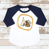 Big Bear Teepee Navy Raglan Shirt