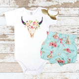 Bull Skull Pink Flowers Teepee Bloomer Outfit