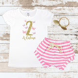 Custom 2nd Birthday Butterfly Pink Shorts Outfit