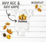 Custom Boy Birthday Pumpkin Bodysuit and Shirt