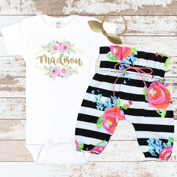 Custom Floral Newborn Outfit