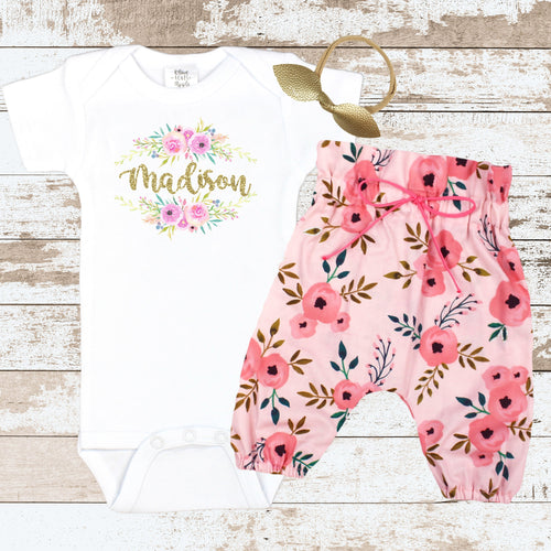 Custom Floral Pink HWP Newborn Outfit