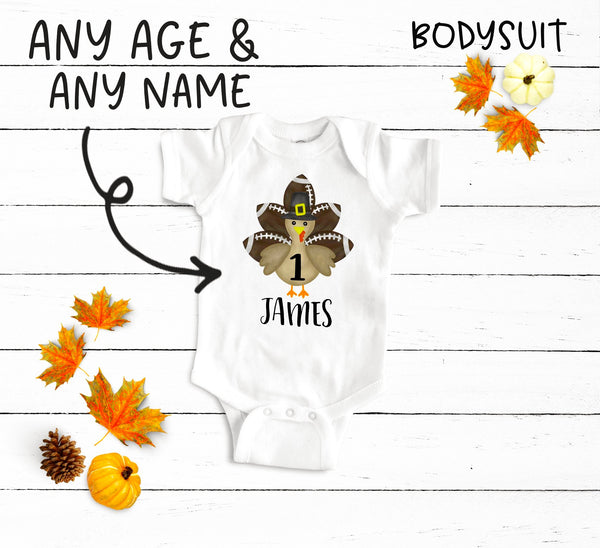 Custom  Football Thanksgiving Birthday Boy Bodysuit and Shirt