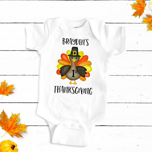 Custom First Thanksgiving Boy Bodysuit