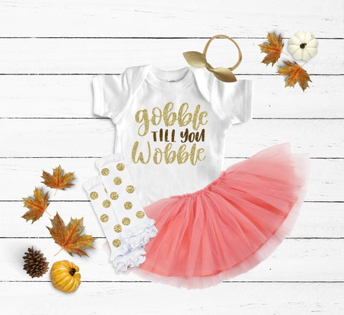 Gobble Till You Wobble Peach Tutu Outfit