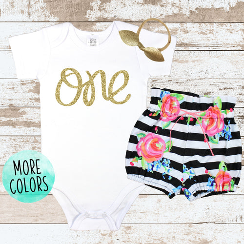 Gold One Striped Bloomers Outfit