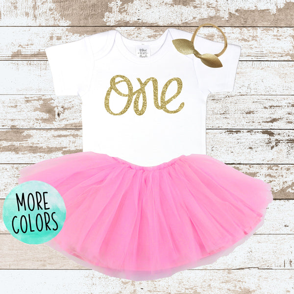 Gold One 1st Birthday Pink Tutu