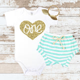 Gold One in Heart Mint Shorts Outfit