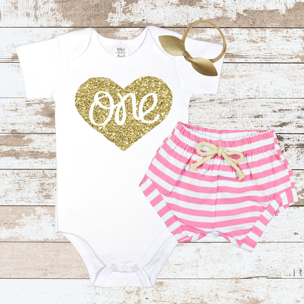 Gold One in Heart Pink Shorts Outfit