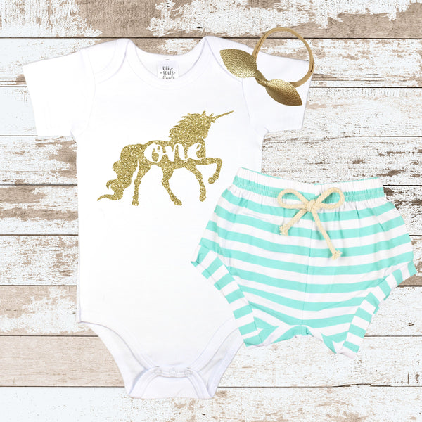 Gold One Unicorn Mint Shorts Outfit