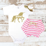 Gold Unicorn One Pink Shorts Outfit