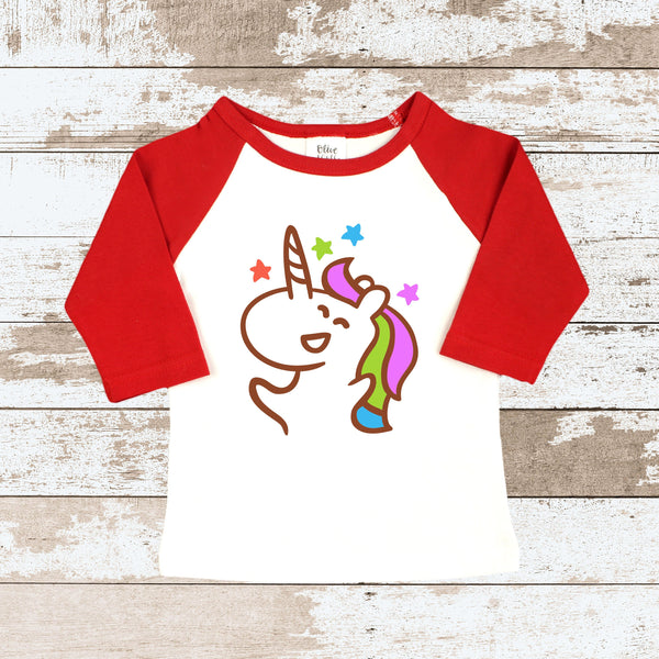 Happy Unicorn  Red Raglan Shirt
