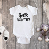 Hello Auntie! Pregnancy Reveal White Bodysuit