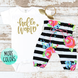 Gold Hello World Newborn Outfit