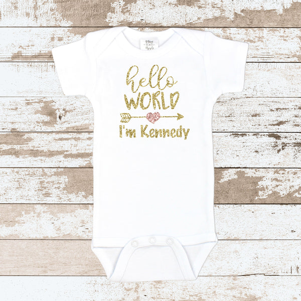 Custom Gold Hello World White Bodysuit