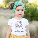 Birthday Babe Flower Horse White Tops