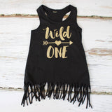 Gold 'Wild One' Black Fringe Tank Dress