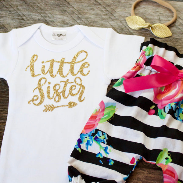 Gold Little Sister Striped Pants Outfit