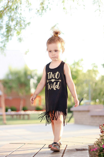 Gold 'Two Wild' Black Fringe Tank Dress