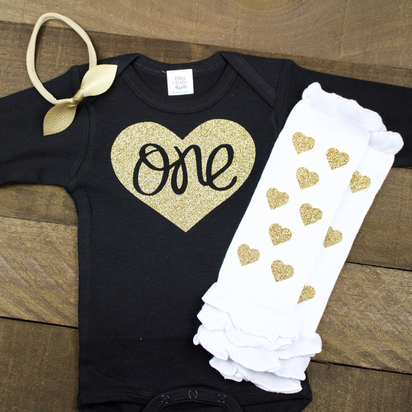 Gold One in Heart Black Bodysuit