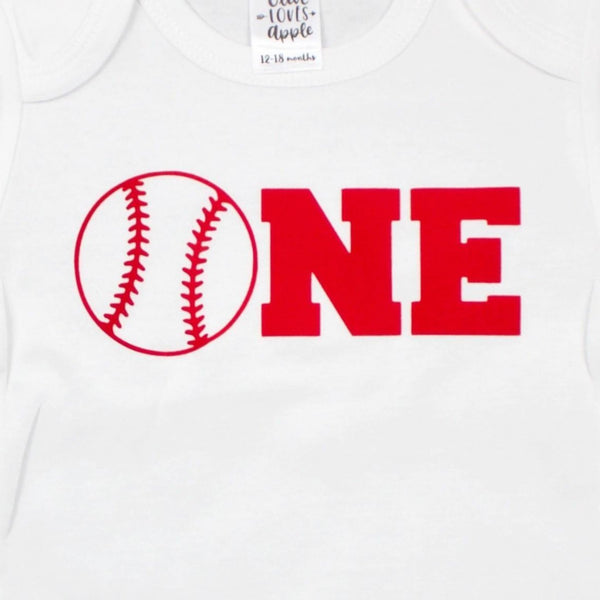 Red One Baseball White Bodysuit