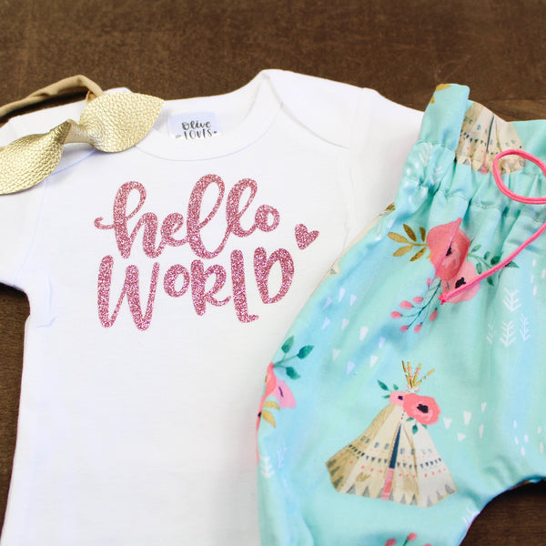 Rose Gold Hello World Newborn Outfit