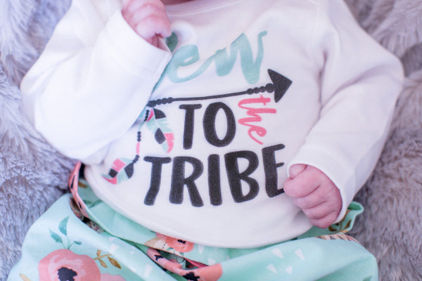 Mint New To The Tribe Newborn Outfit